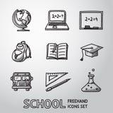 Escuela, iconos a pulso de la educación fijados Vector Imagenes de archivo