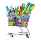 Escuela/materiales de oficina en carro de la compra Imagen de archivo libre de regalías