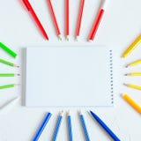 Escuela o materiales de oficina Concepto del estudio o del negocio Endecha plana foto de archivo libre de regalías