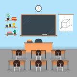 Escuela o universidad interior de la sala de clase de la historieta con muebles Vector libre illustration