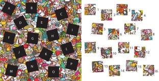 Escuela: Pedazos del partido, juego visual ¡Solución en capa ocultada! Imagen de archivo libre de regalías