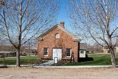 Escuela pionera del oeste de Estados Unidos Imagenes de archivo
