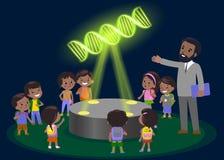 Escuela primaria de la educación de la innovación que aprende al grupo tecnológico de niños a la molécula de la DNA holograma el  Fotografía de archivo