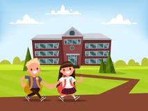 Escuela primaria de los estudiantes El colegial y la colegiala van togethe Stock de ilustración