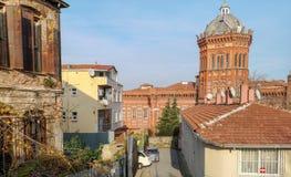 Escuela roja de la escuela secundaria griega de Fener foto de archivo libre de regalías