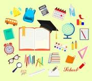 Escuela Sistema de fuentes de escuela Ilustración común del vector ilustración del vector