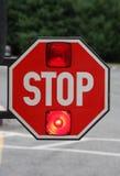 Escuela Van Stop Sign Foto de archivo libre de regalías