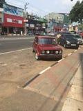 Escuela vieja del coche de Mini Cooper Imagen de archivo libre de regalías