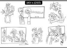 Escuela y cartón de la educación fijado para colorear Foto de archivo libre de regalías