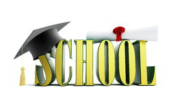 Escuela y casquillo de la graduación Fotografía de archivo libre de regalías