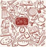 Escuela y conjunto del bosquejo de la educación Imágenes de archivo libres de regalías