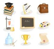 Escuela y conjunto del icono de la educación Imagenes de archivo