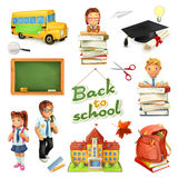 Escuela y educación sistema del icono del vector 3d Personajes de dibujos animados y objetos divertidos Fotografía de archivo libre de regalías