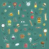 Escuela y mano de los garabatos de la educación dibujada Imágenes de archivo libres de regalías