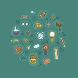 Escuela y mano de los garabatos de la educación dibujada Imagen de archivo libre de regalías