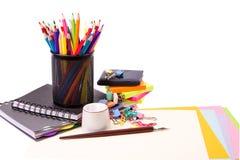 Escuela y oficina inmóviles. De nuevo a concepto de la escuela imagen de archivo libre de regalías