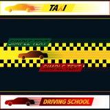 Escuela y taxi de conducción Imágenes de archivo libres de regalías