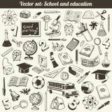 Escuela y vector de los garabatos de la educación Imágenes de archivo libres de regalías