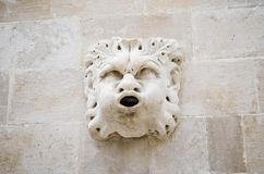 Esculpa los detalles en palacio viejo hermoso en la calle que camina principal en la ciudad vieja de Dubrovnik Fotos de archivo libres de regalías