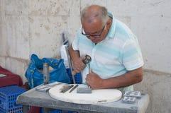 Escultor de la calle de Lisboa Imagen de archivo