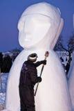 Escultor de la nieve en Carnaval de Quebec fotografía de archivo libre de regalías