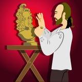 Escultor que faz uma escultura ilustração royalty free