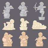 Escultura angelical del cupido del vector de la estatua del ángel y carácter precioso del bebé con las alas el tarjetas del día d ilustración del vector