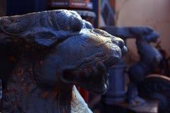 Escultura antigua del yali en el palacio del maratha del thanjavur Fotografía de archivo libre de regalías