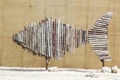 Escultura artística de los pescados en Bahrein Fotos de archivo libres de regalías