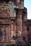 Escultura bonita de Devata em Banteay Srei Foto de Stock Royalty Free