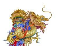 Escultura china del dragón aislada en el fondo blanco Fotografía de archivo