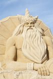 Escultura da areia do poseidon grego do deus Fotografia de Stock