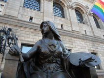 Escultura da arte, biblioteca de Boston Public, quadrado de Copley, Boston, Massachusetts, EUA Imagens de Stock Royalty Free