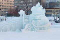 Escultura da baleia na cidade 20 do gelo do permanente Fotografia de Stock
