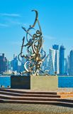 Escultura da caligrafia em Doha, Catar Foto de Stock