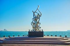 Escultura da caligrafia na costa do Golfo Pérsico, Doha, Catar Fotos de Stock Royalty Free