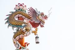 Escultura da coluna chinesa do dragão fotografia de stock