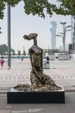 Escultura da menina no parque olímpico do Pequim Fotografia de Stock