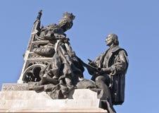 Escultura da rainha Isabella e Christopher Columb Imagens de Stock Royalty Free