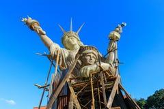 Escultura da senhora Liberty no Santiago colonial espanhol do forte em Manila, Filipinas Imagem de Stock Royalty Free