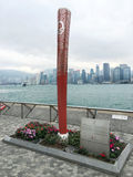 Escultura da tocha olímpica do Pequim 2008, Hong Kong Foto de Stock