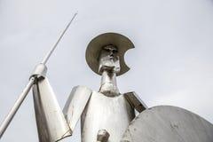 Escultura de acero de Don Quixote, Plasencia, España Imágenes de archivo libres de regalías
