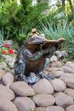 Escultura de cobre de la rana de la lectura Imágenes de archivo libres de regalías