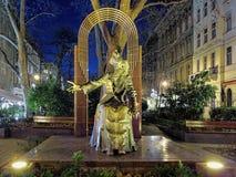 Escultura de Franz Liszt en Budapest en noche, Hungría imagen de archivo