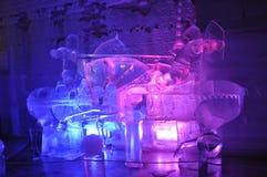 Escultura de gelo Jousting dos cavaleiros Imagens de Stock Royalty Free