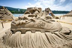 Escultura de hadas de la arena del dragón Imagenes de archivo