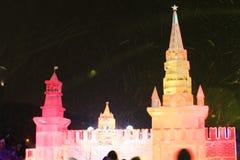 Escultura de hielo de la Moscú el Kremlin Imágenes de archivo libres de regalías
