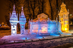 Escultura de hielo de un dragón Torneo de Bogatyrsky Fotos de archivo libres de regalías