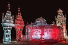 Escultura de hielo de un dragón Torneo de Bogatyrsky Foto de archivo