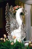 Escultura de hielo del cisne Fotos de archivo libres de regalías
